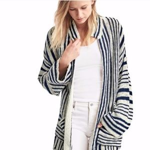 GAP Linen Oversized Striped Cardigan Sweater